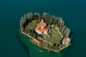 The Franciscan monastery of Our Lady of Mercy on the isle of Visovac, aerial view