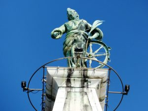 Statue of St. Euphemia on top of the Bell Tower