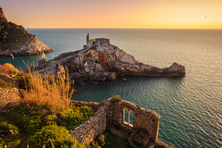 Sunset over Castello Doria Portovenere Italy njcharters.com