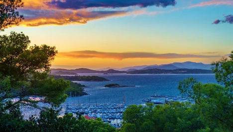 Sunset over the Ilse d'Hyere Islands with the French Riviera in the Distance njcharters.com