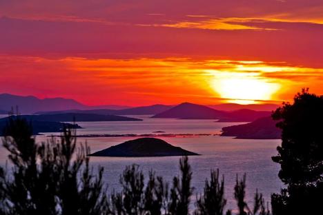 Sunset over the Kornati Archipelago Croatia njcharters.com