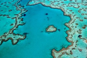 Aerial of Heart Reef, Great Barrier Reef, Australia.
