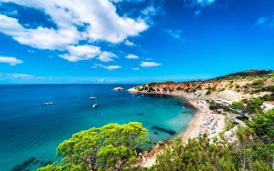Cala D'hort Beach Of Ibiza, Balearic Islands. Spain