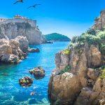 Marble adriatic bay in Dubrovnik riviera scenery, Croatia