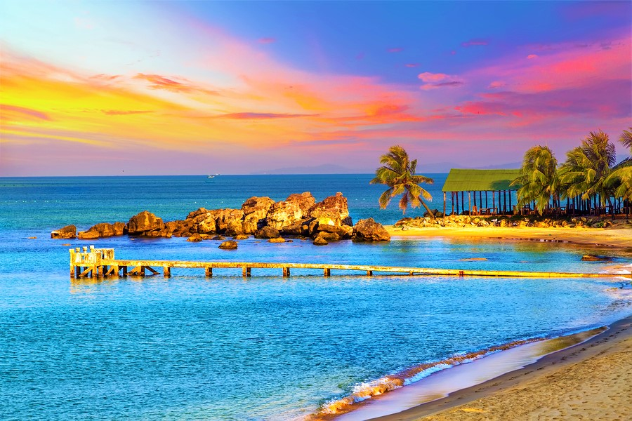 Sunrise Tropical landscape sea on tropical sandy beach
