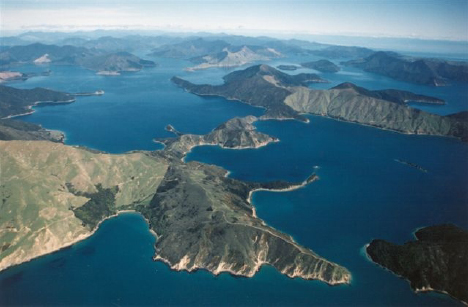 Marlborough Sounds aerial view New Zealand yacht charter njcharters.com