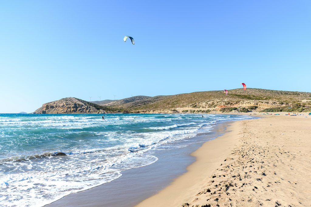 Kite surfers in Rhodes, Greece