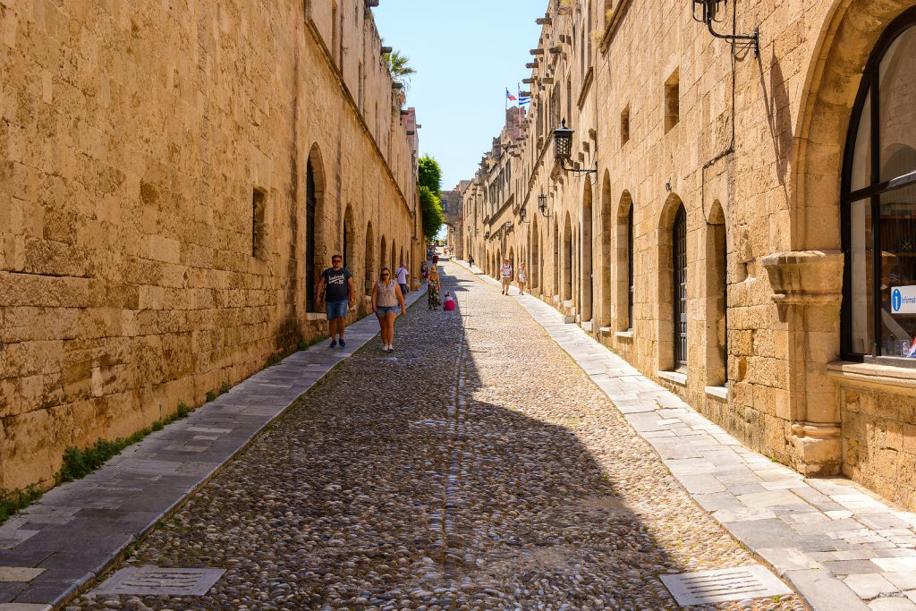 Historic Street in Old Town of Rhodes, Greece