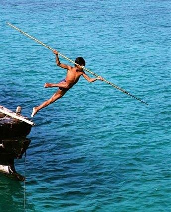 Myanmar Moken Boy Spear fishing