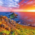 Sunset Over Popular Tourist Destination Torra Di A Parata With G
