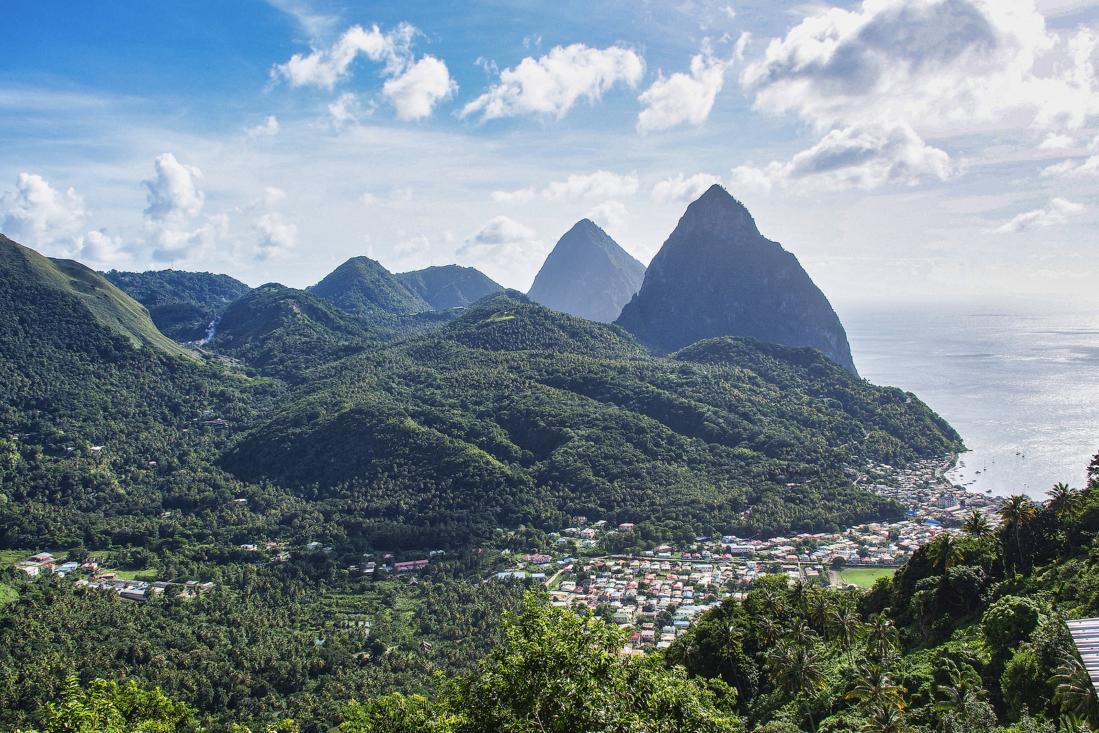 View of the Pitons in St Lucia